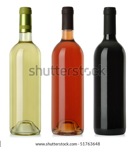 Three merged photographs of white, rose, and red wine bottles.  Separate clipping paths for each bottle included. - stock photo