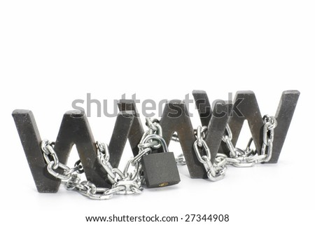 Three metal WWW letters chained and locked with padlock - stock photo