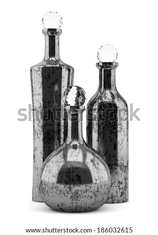three metallic bottles isolated on white background