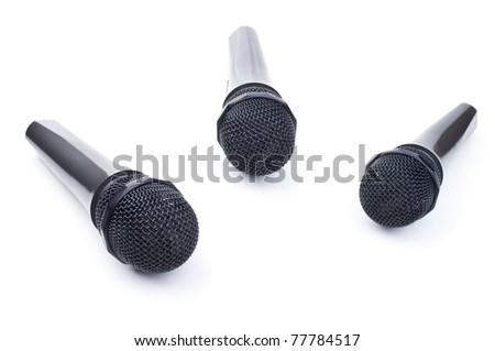 three microphone for karaoke isolated on a white background