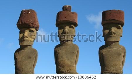 Three Moais on Easter Island (Ahu Nau Nau) - stock photo