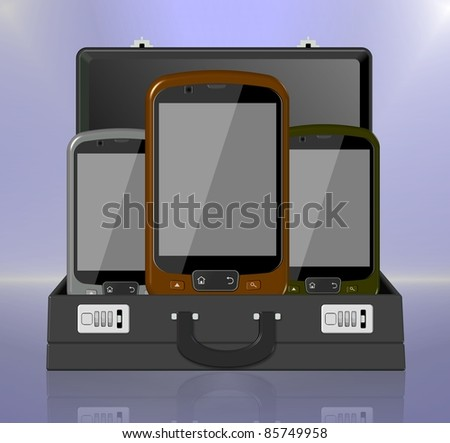 Three mobile phones placed inside of a black business briefcase / Mobile phone briefcase