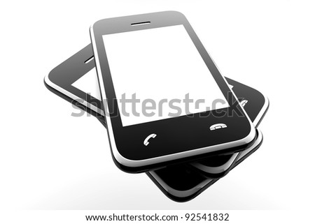 Three mobile phones with blank screen for copy space