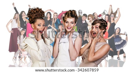 Three models foreground on the people crowd background isolated on white - stock photo