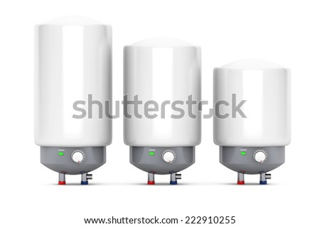 Three Modern Automatic Water Heaters on a white background - stock photo