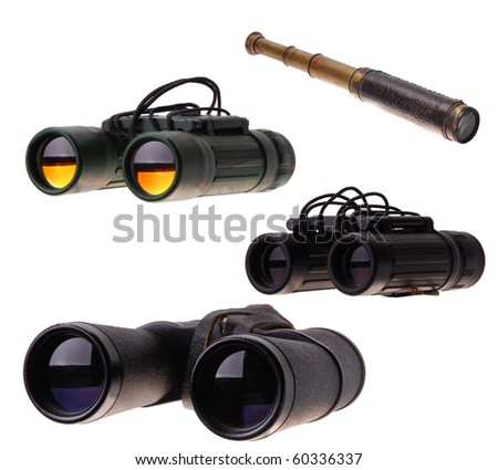 Three modern Binoculars and an old fashioned telescope - stock photo