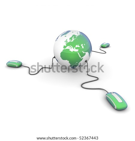 three modern green-blue computer mice connected to a green-blue globe - stock photo