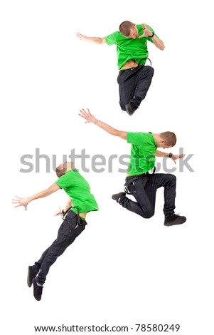 Three modern male dancers making difficul jumps, on white - stock photo
