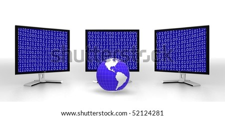 Three modern monitor isolated on white with code on the screen and globe. 3d illustration