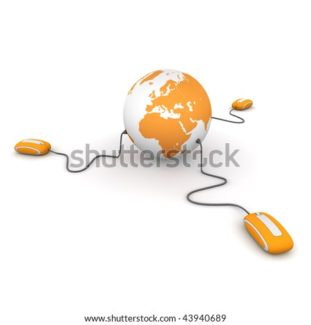 three modern orange computer mice connected to an orange globe - stock photo