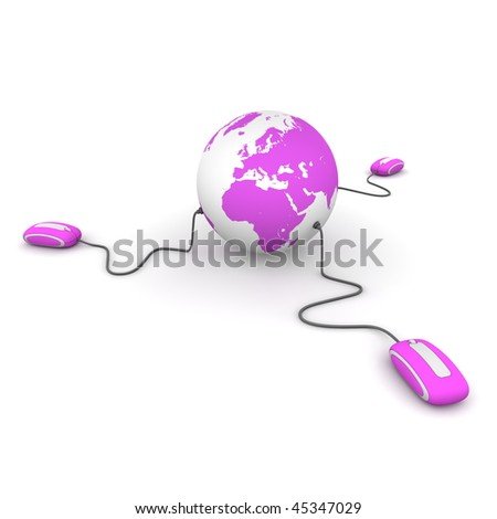 three modern purple computer mice connected to a purple globe