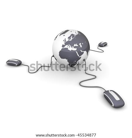 three modern shiny black computer mice connected to a shiny black globe - stock photo