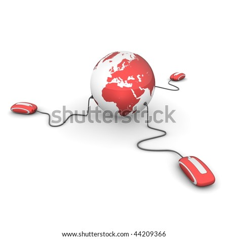 three modern shiny red computer mice connected to a shiny red globe - stock photo