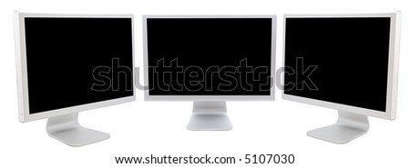 three monitors of computers  in black over a white background - stock photo