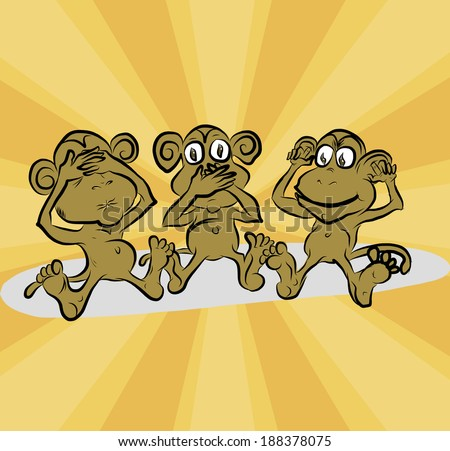 three monkeys no say, listen, see: east concept about three monkeys - stock photo