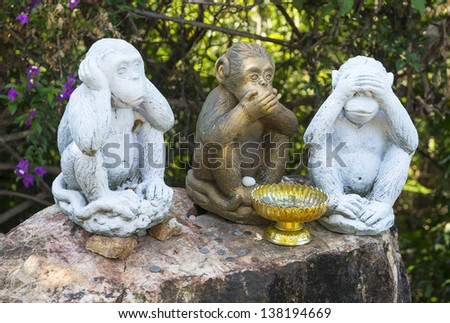 Three Monkeys With Different Faces - No Speak, No See, No Hear at Koh Samui Thailand  - stock photo