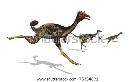 Three mononykus dinosaurs on the run. These dinosaurs were only 3.3 feet long, they moved on two legs and could run at very high speeds. They lived during the late Cretaceous period. 3D render.