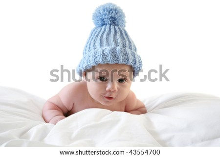 three month baby with cap - stock photo