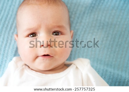 Three month old baby portrait - stock photo