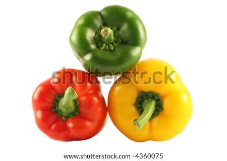 Three multi-coloured pepper isolated on white