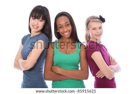 Three multi cultural teenage school student friends made up of mixed race african american, oriental Japanese and caucasian all happy and smiling together. - stock photo