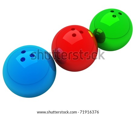 three multicolored bowling balls isolated over white - stock photo