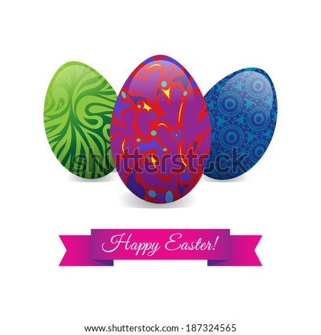 three multicolored easter patterned eggs background card  - stock photo