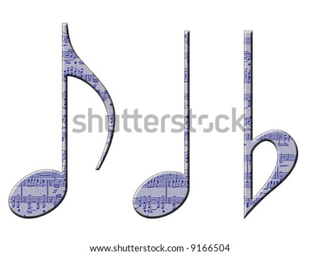 Three musical symbols with a manuscript pattern