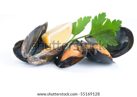 three mussels boiled with lemon and parsley isolated on white background