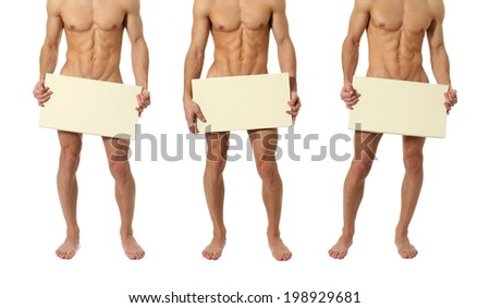 Three naked muscular men covering with a copy space blank sign isolated on white - stock photo