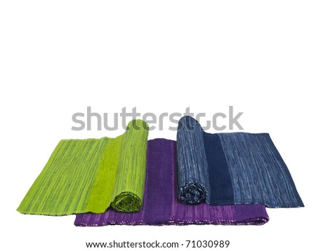 Three natural cotton flax table napkin on white background, isolated / made and designed in India - stock photo