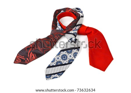 Three necktie isolated on white background - stock photo