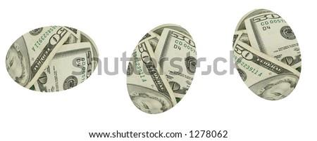 Three Nest eggs isolated over white background. - stock photo