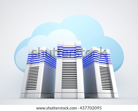 Three network servers and blue clouds on white background. 3d rendered illustration.  - stock photo