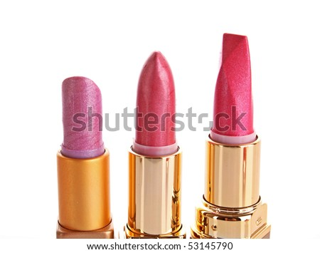 Three new lipsticks on the white background