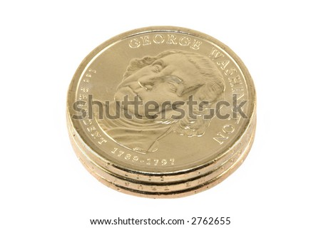 Three new one dollar coins isolated against white