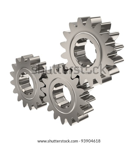 Three Nickel Metal Gears Meshing Together on a White Background