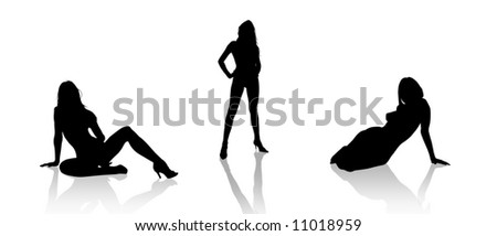 Three nudes women on white background - stock photo