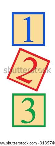 Three number blocks - 1, 2, and 3, on white background. - stock photo