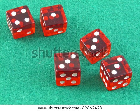 Three of a kind in red casino dice