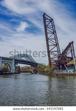 Three of the many bridges located along the Cuyahoga River in Cleveland, Ohio