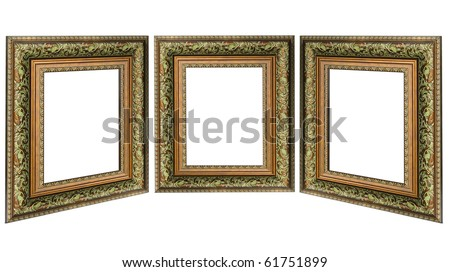 Three old antique gold picture frame with a decorative pattern isolated over white background - stock photo