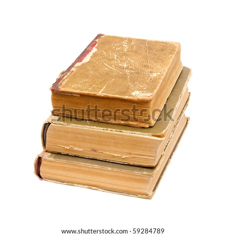 Three old books isolated on white background