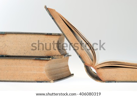 Three Old Books, Selective focus - stock photo