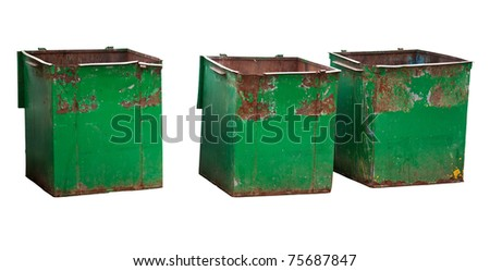 Three old empty green dirty garbage containers isolated on white background - stock photo