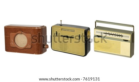Three old fashioned radio-sets over white 2 - stock photo