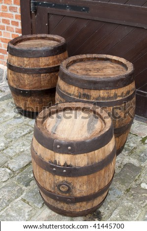 Three old fashionned wood barrel. High resolution image. Wooden barrel.