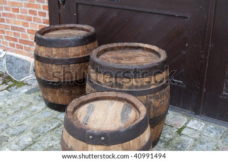 Three old fashionned wood barrel. Wooden barrel.