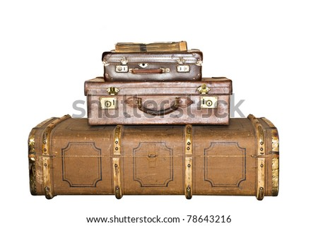 Three old leather suitcases isolated on white