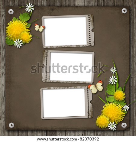 Three Old paper frame over an old wood background - stock photo